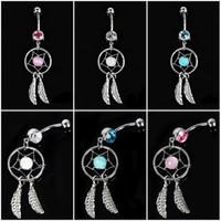 Wholesale Dream Catcher Body Jewelry - Dream Catcher Austria Crystal Navel Piercing Steel Belly Button Ring Navel Piercing Body Jewelry Gift Free DHL G92L