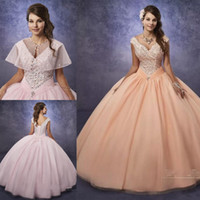Wholesale gold shimmer dress - Shimmering Tulle Quinceanera Dresses with Cape and Portrait Neck Major Beading Peach vestidos de 15 anos Prom Dresses