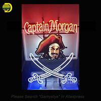 "Wholesale Captain Morgan Neon - Captain Morgan Neon Sign with HD Vivid Print Neon Signs Sword Glass Tubes Bulbs Signboard Handcraft Beer Iconic Sign 24x20"""