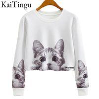 Wholesale cat crop top - Kaitingu 2017 Autumn Women Casual Pullover Harajuku Fashion Crop Tops Round Neck Long Sleeve Ladies Cat Short Cropped Sweatshirt