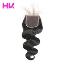 ingrosso chiusure nodali node-Chiusura superiore del merletto dei capelli umani non trattata dell'onda del corpo dell'onda 8a malese con i capelli del bambino Medio / liberi / chiusura di tre parti