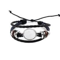 ébauche de lunette en forme de bracelets achat en gros de-Mode Bijoux DIY Multi Couche En Cuir Bracelet Bracelet Blanc Base Fit 20mm Ronde Photo En Verre Cabochon Réglage Lunette Plateau Fabrication de Bijoux