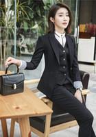projeto uniforme das senhoras venda por atacado-(Blazer + Colete + Calça) Formal Escritório Senhoras OL Uniform Designs Mulheres elegante saia de Negócios / calça Fatos de Trabalho Jaqueta de Desgaste com Calças