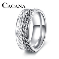 Wholesale Chain Double Finger Ring - whole saleCACANA Brand Design New High-end boutique men's stainless steel DOUBLE silver chain rotatable ring finger tide personality