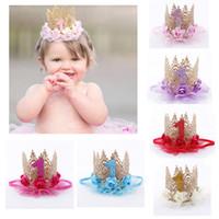 chapeaux de décoration achat en gros de-Bébé fille premier anniversaire fête chapeau chapeau décoration bandeau bandeau princesse reine couronne dentelle bande de cheveux élastique chapeaux p20