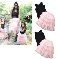 Wholesale Boutique Clothes Women - Mother and daughter Clothing sets family matching clothes women girls top+TuTu Tulle skirts 2pcs set 2018 summer Boutique outfits C4044