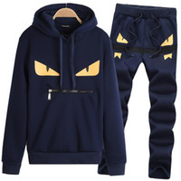 Wholesale couples tracksuits resale online - Casual Designer Tracksuit Men Couple Luxury Track Suit Sport Black Polyester Cartoon Mens Hoodie Pants Long Sleeve Pullover Clothing M XL