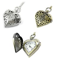 Wholesale Necklace Chain Pocket Watch Heart - Elegant Hollow Heart Shape Quartz Fob Pocket Watch With Sweater Chain Necklace Gift for Women Girls LXH