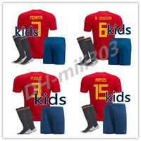 camiseta de fútbol juvenil de españa al por mayor-2018 Kids kit España Jersey niño juventud España kits RAMOS ISCO PIQUE SERGIO INIESTA ASENSIO THIAGO MORATA casa niños fútbol camisa Fútbol conjunto