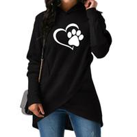 Wholesale comfortable cotton hoodies - 2018 New Fashion Dog Paw Heart -Shaped Print Hoodies Bts Sweatshirts Tops Harajuku Cotton Funny Hoody Plus Size Comfortable