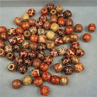 padrões de contas para pulseiras venda por atacado-500 pcs 12mm Contas De Madeira Sortidas Padrão Pintado Redondo Barril De Madeira Beads para Fazer Jóias Pulseira Solta Spacer Encantos Do Grânulo