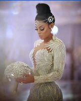 Wholesale Kim Kardashian Pictures Long Mermaid Dress - 2018 Evening dress Yousef aljasmi Kim kardashian Mermaid Feather long sleeve Crystals gianninaazar Kylie Jenner Zuhair murad