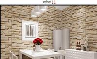 ingrosso carta da parati in pietra di stile-Nuovo stile 3D Luxury Wood Blocks Effetto Brown Stone Brick 10M Vinile Carta da parati Rullo Soggiorno Sfondo muro Decor Wall Paper