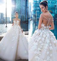 Wholesale big flower dress - Custom Make Wedding Dress Special Big Petal Flowers 2018 Stunning Appliques Sheer Off Shoulders Bridal Gowns Sheer Backless with Buttons