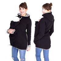 ingrosso giacche portante bambino-Papà Chen incinta multifunzione caldo cotone cappotto canguro giacca portante tuta sportiva supporto del bambino maternità felpe felpe