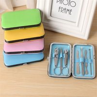 Wholesale Nail Clipper Case - New 7 pcs  set Nail Tools Stainless Steel Manicure Pedicure Set Nail Clippers Scissors Kit Leather Case manicure set 2918