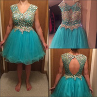 Wholesale turquoise short homecoming dresses - V Neck A Line Short Gorgeous Tulle Crystal Sleeveless Open Back Homecoming Dress Turquoise Short Party Dresses for Graduation