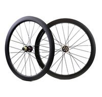 ruedas ud al por mayor-700C 50 mm de profundidad disco de freno de disco de carretera juego de ruedas de carbono 25 mm de ancho Cubierta / disco tubular Bicicleta de ciclocross ruedas de carbono UD finsh mate