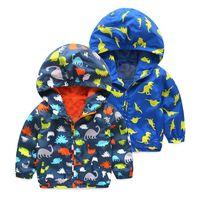 oğlan dinozor hoodie toptan satış-Çocuklar dinozor Hoodies 2018 Sonbahar karikatür Kadife mont bebek Boys Dış Giyim Spor Ceketler 3 renkler Giyim C5016