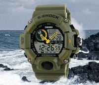 часы двойные цифровые часы оптовых-Тактические часы Мужские Montre S-Shock Цифровые часы на открытом воздухе Спорт Dual Time Водонепроницаемые 50M Travel Chronograph Clock.