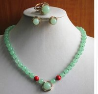 Wholesale wedding ring set prices resale online - factory price Women s stones jades Necklace earring ring set