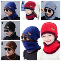 Wholesale warm skull caps for men resale online - Winter Warm Knitted Hat Colors Beanie Hats Scarf Sets For Student Teenagers Men Knitted Hat Cap MMA994