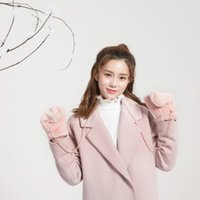 ingrosso guanti giapponesi-2018 New Winter Japanese Sweet Women Guanti Chic Warm Winter Guanti Knitting Faux Wool Black Pink Taglia unica