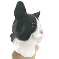katzenmasken für erwachsene großhandel-MostaShow Halloween Kostüm Latex Schwarze Katze Volle Kopfbedeckungen Ostern Maskerade Erwachsene Kostüm Kopf Masken