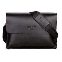 kahverengi deri çanta çantası toptan satış-Erkek Evrak İş Çantaları Rahat Iş PU Deri Erkek Messenger Çanta Bağbozumu erkek Crossbody Çanta Bolsas Siyah Kahverengi Omuz Çantaları