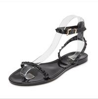 düz güzel ayakkabı toptan satış-Yeni 2018 Yaz Ayakkabı Kadın Sandalet Güzel Çiçek Jöle Ayakkabı Katı Rahat Slaytlar Sandalias Moda Flats Terlik