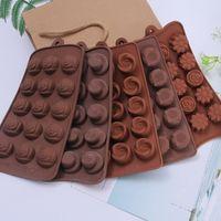 bandejas de bloques de hielo al por mayor-Diy herramientas de cocina ronda molde chocolates de grado alimenticio bloque de silicona para hornear pastel molde Ice Lattice cubo bandeja hecho a mano estilo diferente 2 3hq jj