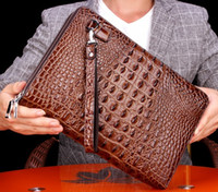Wholesale genuine crocodile grain bag resale online - Top quality Men Clutch bags Real leather sturdy hard shell crocodile grain double zipper cm width super large volume Luxury package
