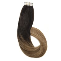 Wholesale Ash Blonde Hair - Tape in Human Hair Extensions Ombre Dark Brown to Light Brown and Ash Blonde Remy Hair Extensions Tape in Real Hair Straight Skin Weft