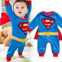ingrosso baby clothes superman-Neonato Ragazzo Superman Pagliaccetto Partito Abiti Fantasia Costume Supereroe Bambini Ragazzi Vestiti Del Fumetto Mantello Decorazione Ragazzi Pagliaccetti 0-24 M Y18102008