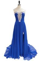 chiffon noite vestidos venda por atacado-Estilo especial vestido azul para a noite do baile de finalistas elegante Querida frisada Chiffon andar de comprimento Side Slit Prom vestido