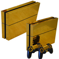 Wholesale golden skins - Superb Golden Style Vinyl Decals PS4 Skin Sticker full Set Console Skin+2 Controller Protective Skin Stickers