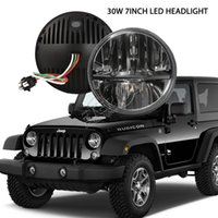 Wholesale Van Led Lights - free shipping round 7in led headlight 60W JEEP JK CJ TJ YJ hummer land rover Doge motorcycle offroad 4x4 vehicles driving headlamp