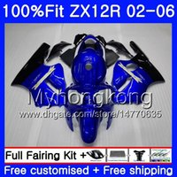 ingrosso zx12r blu-Iniezione per KAWASAKI NINJA ZX1200 1200CC ZX12R 02 03 04 05 06 224HM.0 ZX 12R 12 R ZX-12R 2002 2003 2004 2005 2006 Carena blu caldo