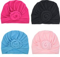 Wholesale Toddlers Head Wraps - Baby Top Knot Turban rose hat Toddler soft Turban vintage style retro Hair Accessories girls boys Head wrap LC697