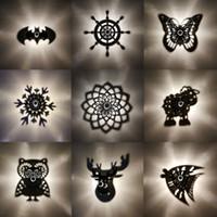 sombra de la lámpara al por mayor-Creativo de dibujos animados LED Lámpara de pared Animal Owl Projection Shadow Flower BAT Luz de la noche E27 Warm Blub Inicio decorativo de la placa de acrílico