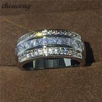 ingrosso formato di anelli di cerimonia nuziale di fidanzamento-Monili caldi di vendita Anello maschile 3mm Anello in oro bianco con diamante pieno di fidanzamento Anello per uomo Taglia 5-11