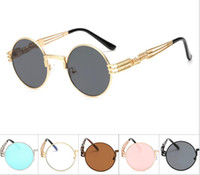 Wholesale round sunglasses hipster for sale - Group buy 2018 New round cutout glasses retro sunglasses metal punk colorful sunglasses fashion women and men hipster sunglasses