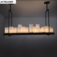 Wholesale French Restaurants - led pendant lamp American retro French designer style marble candle holders droplight village restaurant droplight