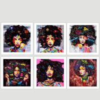 abstrakte gemälde mädchen großhandel-Afrika Mädchen Muster Leinwand Gemälde Reine Handbemalt Spray Malerei Abstrakte Wandkunst Hängen Bild Wohnzimmer Decor 14xs4 jj