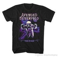 yuvarlak boyun yaka gömlek toptan satış-Yeni Yuvarlak Yaka T Shirt Moda 2018 Kısa Erkekler Komik Ekip Boyun Avenged Sevenfold T Gömlek