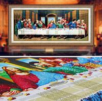elmas nakışı 3d kitleri toptan satış-Özel şekilli elmas boyama son akşam yemeği çapraz dikiş nakış kitleri 5d 3d duvar çıkartmaları İsa din