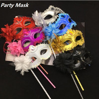 Wholesale luxury woman mask for sale - New Luxury Woman Mask On Stick Sexy Eyeline Venetian Masquerade Party Mask Sequin Lace Edge Lateral Flower Color Party Masks I054
