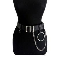 esaret zincirleri toptan satış-Kadın PU Deri Demeti Vücut Kemerleri Zincir Bel Esaret Punk Ayarlanabilir Askı Sapanlar Bel Kemeri Ile Yüksek Kalite