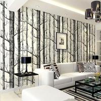 huş ağacı toptan satış-10 Metre / grup Huş Ağacı Ormanda Duvar Kağıdı dokunmamış Rulo Modern Tasarımcı Duvar Kaplama Basit Duvar Kağıdı Oturma Odası Için GBN-018