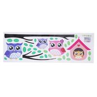 fond d'écran de hibou achat en gros de-600x200cm PVC Cartoon Tree Owl Stickers Muraux Animaux pour Enfants Chambre à coucher Jardin d'enfants Pépinière Fond D'écran Art